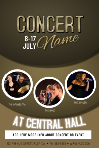 Concert band singer Event flyer template with three photos