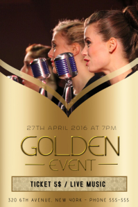 concert band singer flyer template with picture replace gold