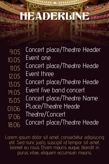 Concert Band Tour Theatre schedule calendar flyer template