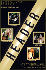 concert event band flyer template with four 4 photos
