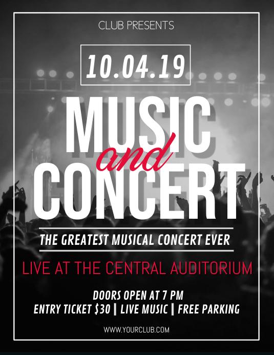 Concert Flyer Template, Karaoke Night flyer, Music