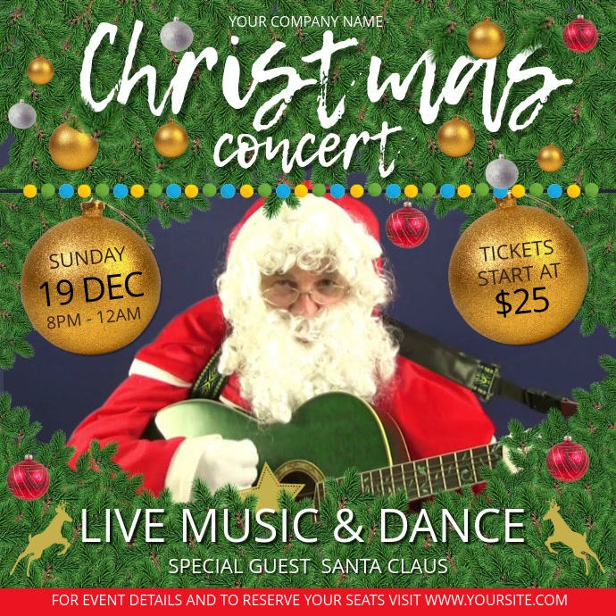 Concert Invitation Christmas Square Video Quadrat (1:1) template