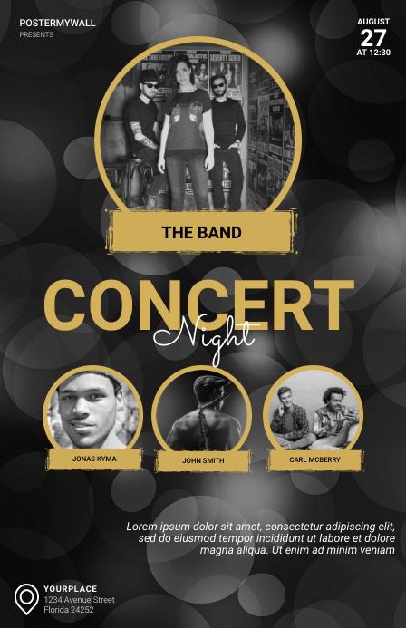 Concert Night Flyer Design Template Tabloid