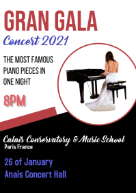Concert/piano/music school/conservatory A4 template