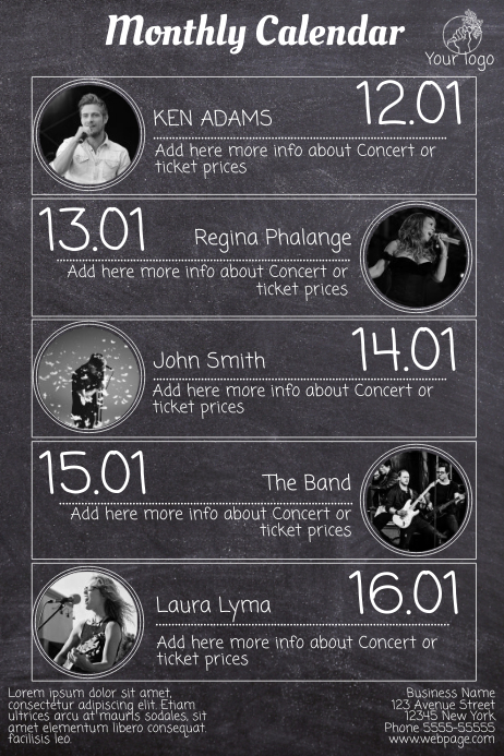 Concert Schedule Flyer Template