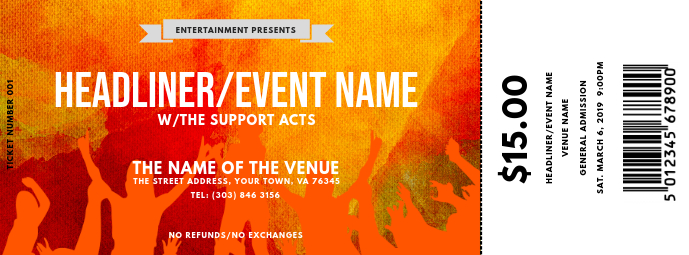 Concert Ticket Couverture Facebook template