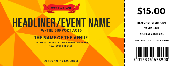 Concert Ticket Facebook Cover Photo template