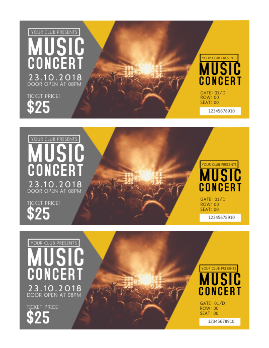 concert tickets template postermywall