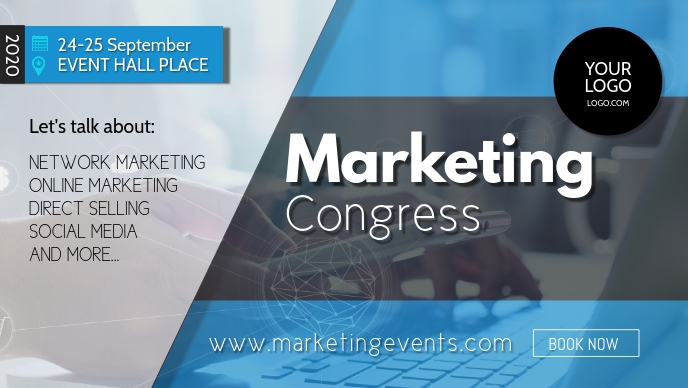 Conference Marketing Network Congress Speaker Facebook Cover Video (16:9) template