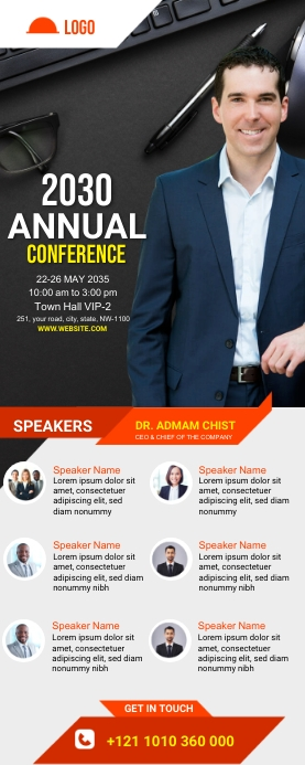 Conference Roll Up Banner Template ป้ายโรลอัป 2' × 5'