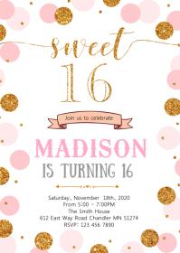 Confetti 16th birthday invitation A6 template