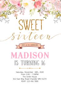 Confetti 16th birthday invitation A6 template