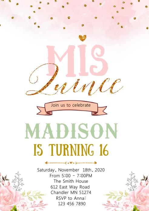 Confetti 16th birthday invitation