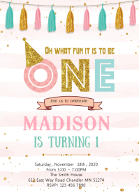 Confetti 1st birthday invitation