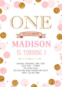 Confetti 1st birthday invitation