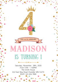 Confetti 4th birthday invitation