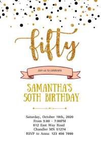 Confetti 50th birthday invitation