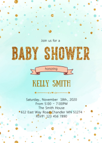 Confetti baby shower party invitation