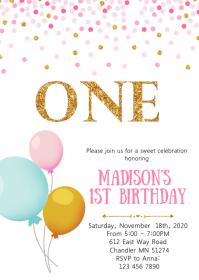 Confetti balloon birthday party invitation