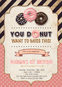 Confetti donuts birthday invitation A6 template