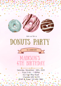 Confetti donuts birthday party invitation A6 template