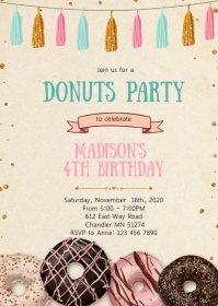 Confetti donuts birthday party invitation