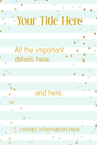 Blue Gold Confetti Flyer Announcement Invitation