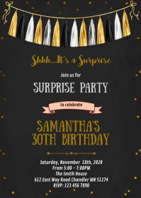 Confetti gold and black party invitation
