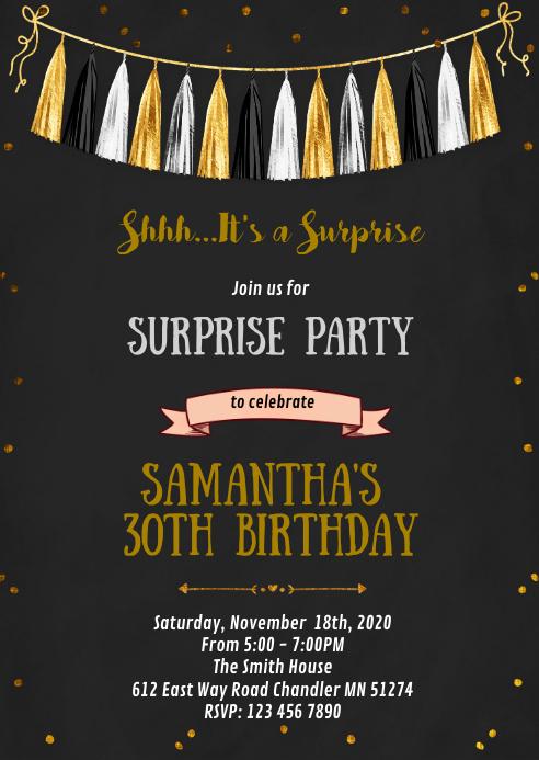 Confetti gold and black party invitation