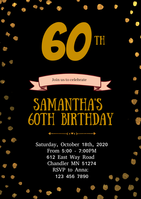 Confetti gold black birthday invitation