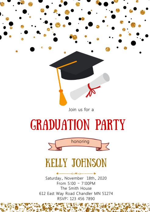 Confetti graduation party invitation
