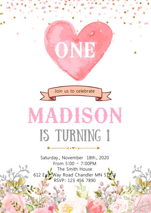 Confetti heart 1st birthday invitation