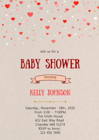 Confetti heart baby shower invitation