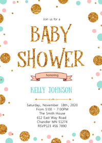 Confetti Sprinkle baby shower invitation A6 template