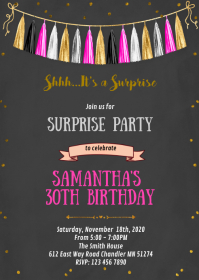 Confetti tassel party invitation