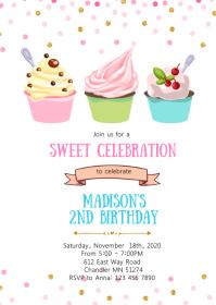 Confetti yogurt birthday party invitation
