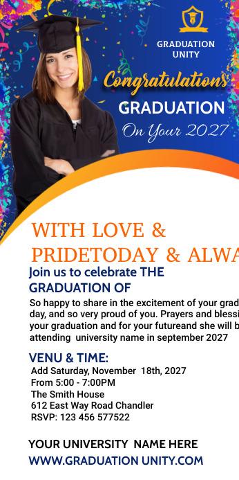 Congrats Graduation Cartel enrollable de 3 × 6 pulg. template