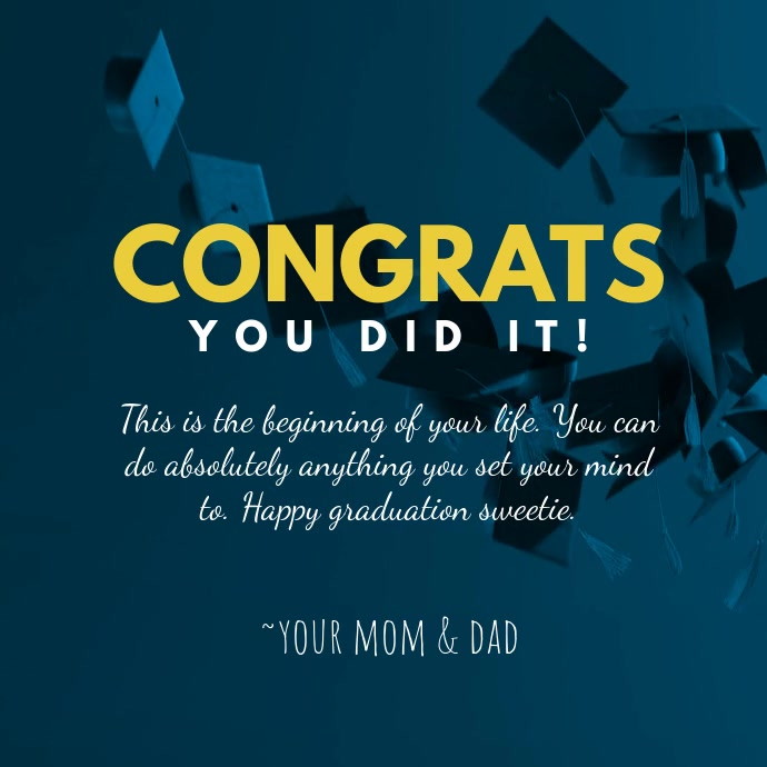 congrats graduation wish greeting cards template postermywall