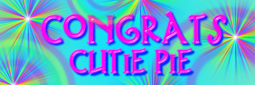 congrats text with rainbows banner