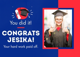 Congratulation Graduation Card Postcard template