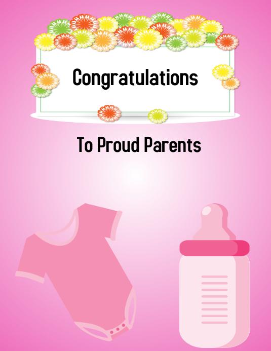 congratulations, baby girl Folder (US Letter) template