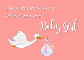 Congratulations baby card Postcard template