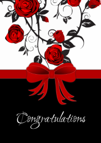 Congratulations Card Birthday Wedding Roses