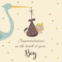 Congratulations on baby boy card Post Instagram template