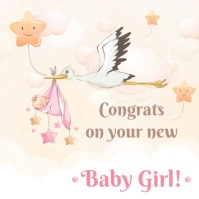Congratulations on baby girl greeting card st Message Instagram template