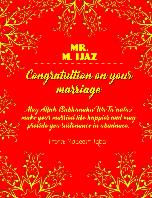 Congratulations on your Marriage Folheto (US Letter) template
