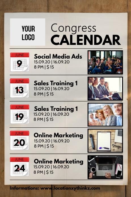 Congress calendar planner workshops seminar