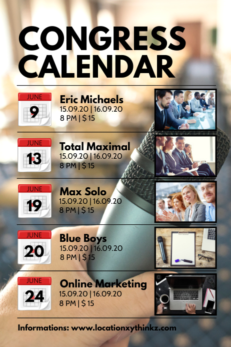 Congress Calendar Times Events Upcoming Dates Poster template