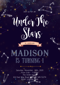 Constellation shower invitation A6 template