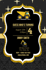 Construction Birthday Party Grafik Pinterest template